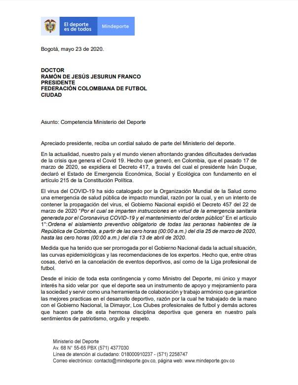 Ministerio del Deporte (Mindeporte), Ernesto Lucena, Ramón Jesurún, Federación Colombiana de Fútbol, Jorge Enrique Vélez, Dimayor, página 1