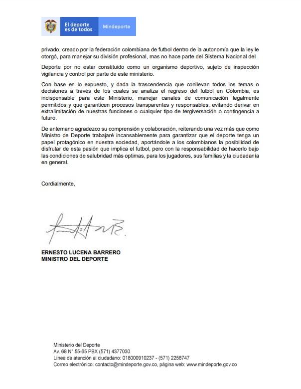 Ministerio del Deporte (Mindeporte), Ernesto Lucena, Ramón Jesurún, Federación Colombiana de Fútbol, Jorge Enrique Vélez, Dimayor, página 3