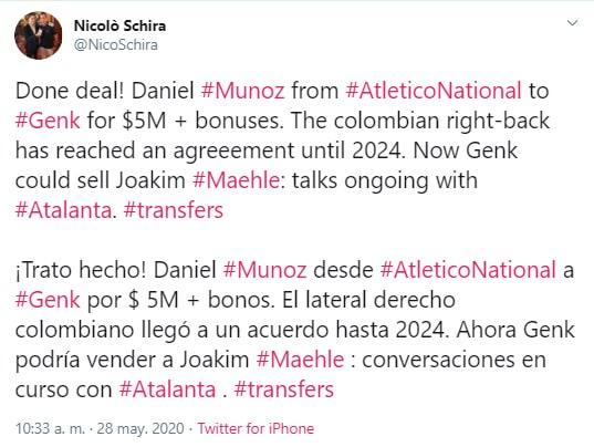 Nicolò Schira, Daniel Muñoz, Atlético Nacional, KRC Genk