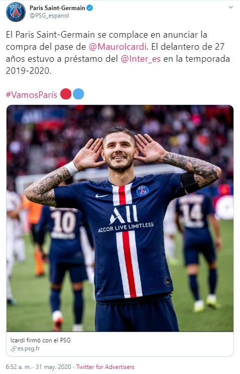 Paris Saint-Germain, Mauro Icardi, comunicado