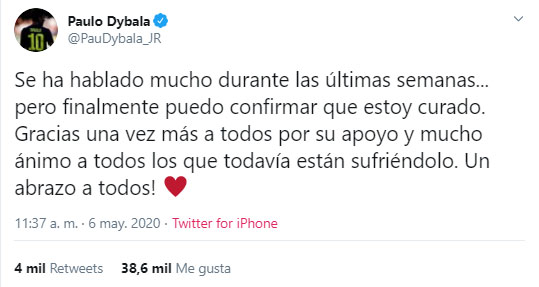 Paulo Dybala, coronavirus COVID-19, curado