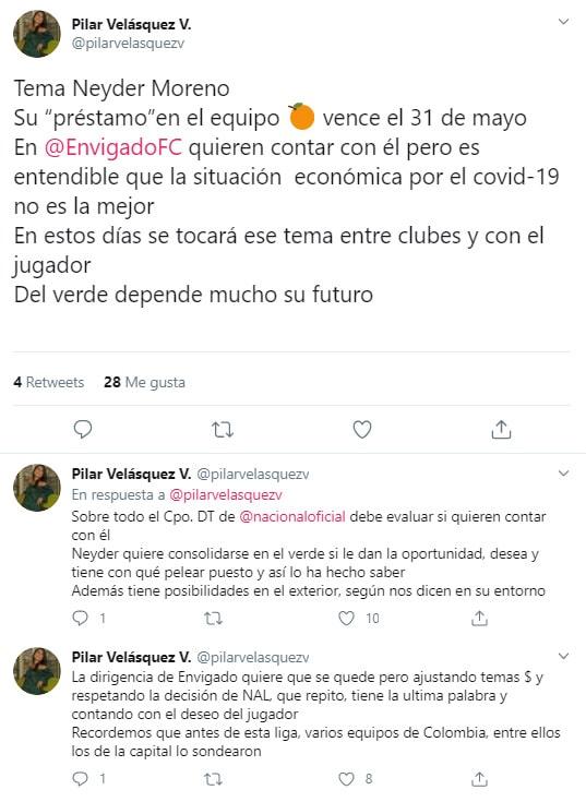 Pilar Velásquez, Neyder Moreno, Atlético Nacional