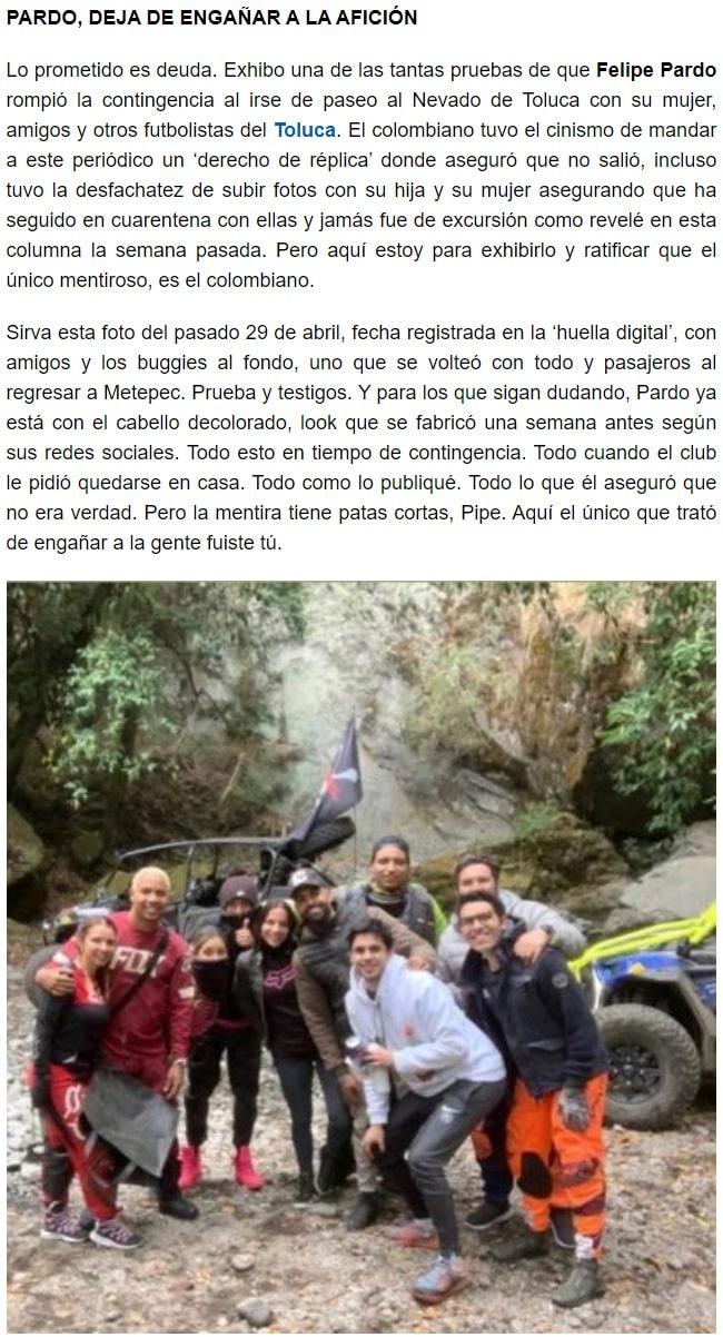 Récord, Felipe Pardo, acusación