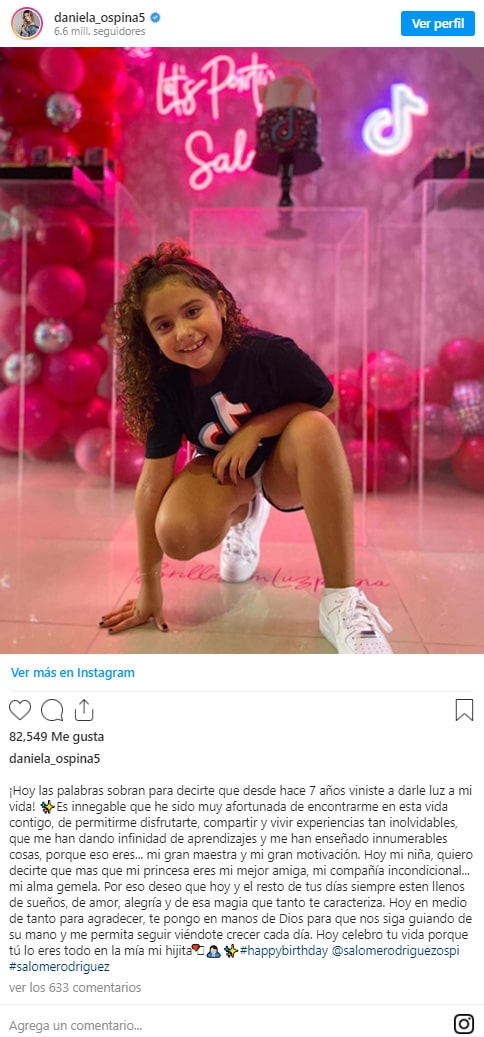 Salomé Rodríguez, Daniela Ospina, cumpleaños, felicitación