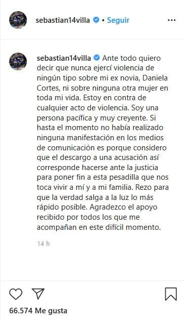 Sebastián Villa, Daniela Cortés, agresión, comunicado
