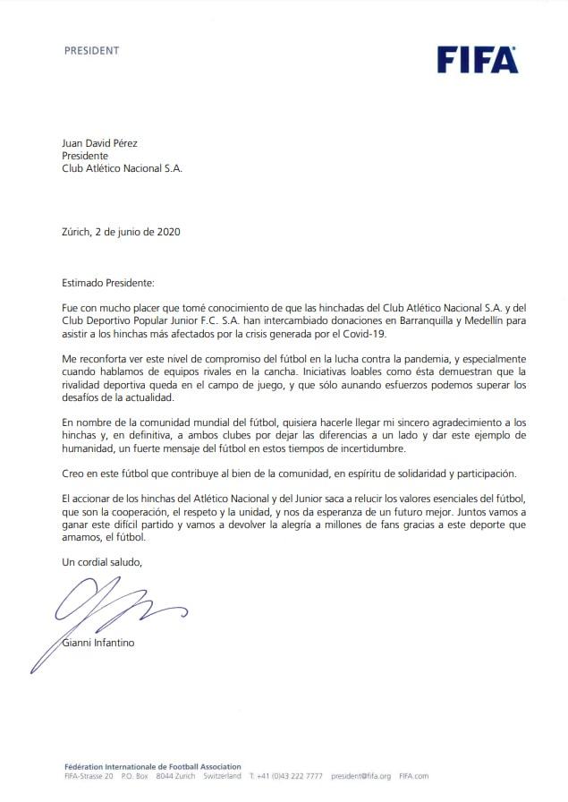 Atlético Nacional, Los Del Sur, FIFA, mención