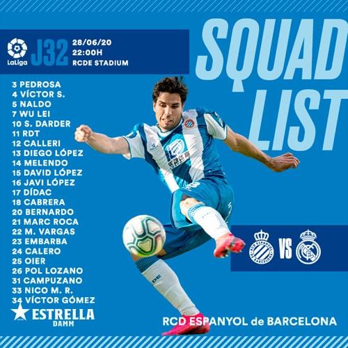 Bernardo Espinosa, convocado, Espanyol vs. Real Madrid, LaLiga 2019-20