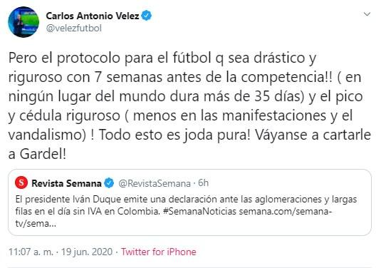 Carlos Antonio Vélez, crítica, Iván Duque, día sin IVA