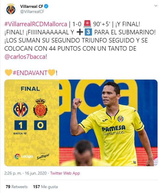 Carlos Bacca, Villarreal 1-0 Mallorca, LaLiga 2019-20, celebración