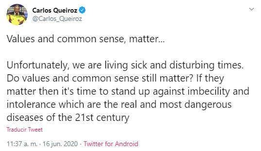 Carlos Queiroz, Selección Colombia, Twitter
