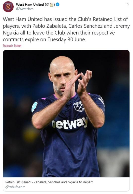 Carlos Sánchez, West Ham, despedida