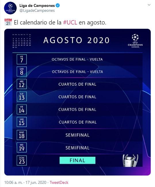 Champions League 2019-20, calendario, agosto