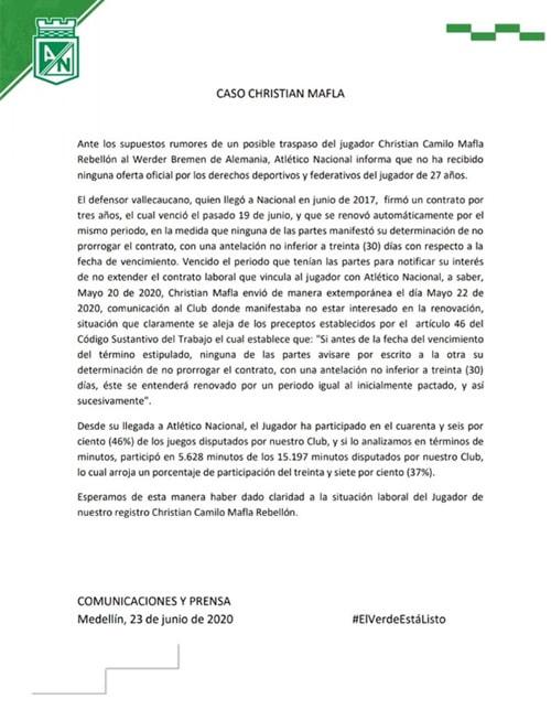 Christian Mafla, Atlético Nacional, aclaración