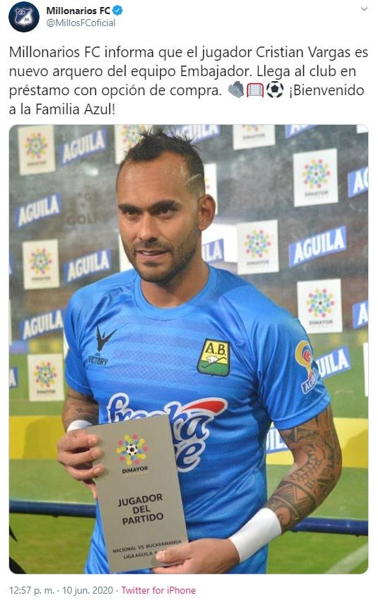 Christian Vargas, nueva contratación, Millonarios FC