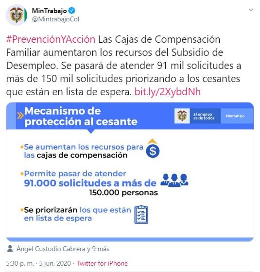 Colombia, Mintrabajo, Ministerio del Trabajo, subsidio, auxilio, desempleados, $160.000, coronavirus COVID-19