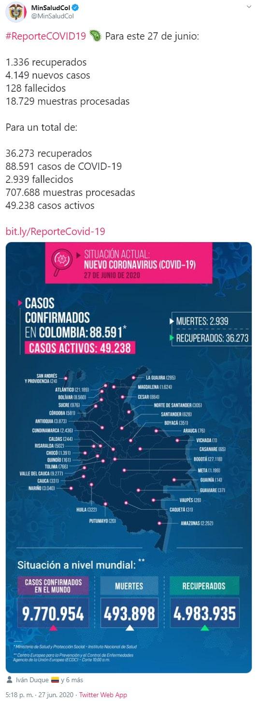 Colombia, coronavirus COVID-19, reporte, 27-06-2020