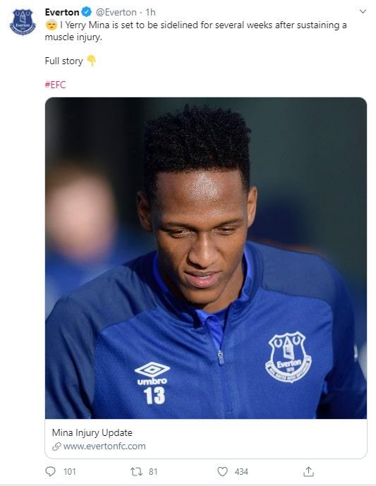 Everton, Yerry Mina, nueva lesión