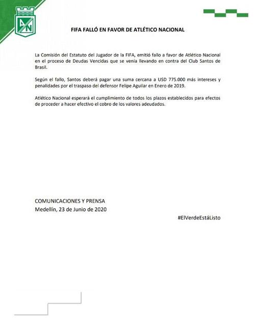 Felipe Aguilar, Atlético Nacional, fallo, FIFA, Santos FC