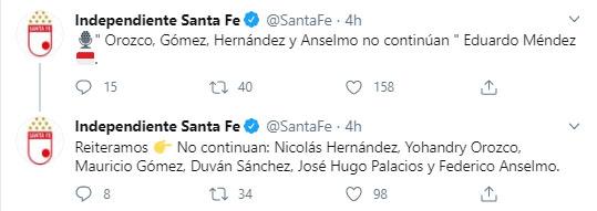 Independiente Santa Fe, despedida, Nicolás Hernández, ex Atlético Nacional