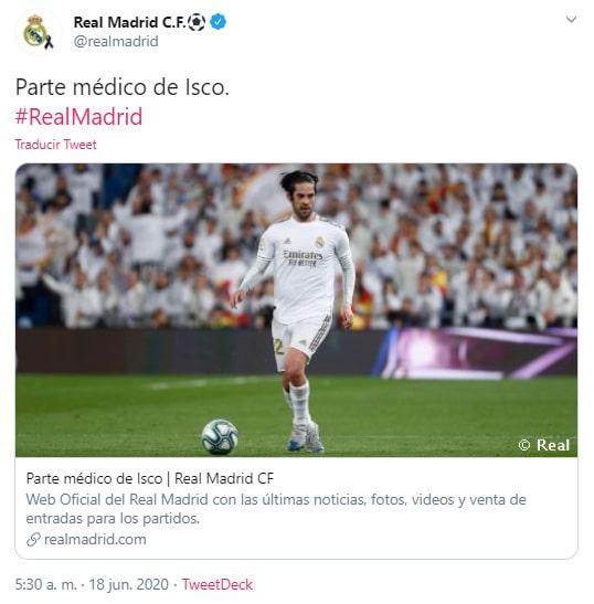 Isco Alarcón, parte médico, Real Madrid, Valencia, James Rodríguez, LaLiga 2019-20