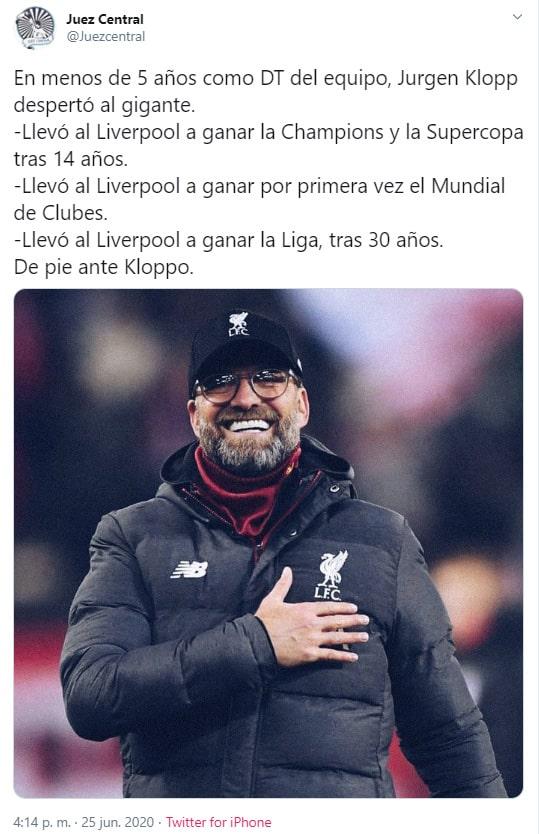 Jürgen Klopp, Liverpool, Premier League 2019-20, Juez Central
