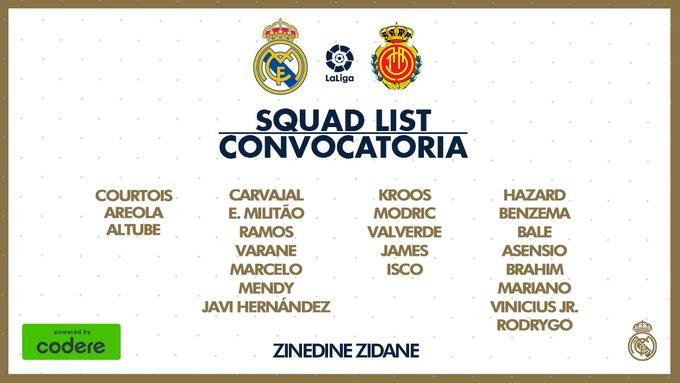 James Rodríguez, convocatoria, Real Madrid vs. Mallorca, LaLiga 2019-20