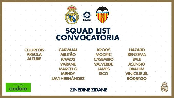 James Rodríguez, convocatoria, Real Madrid vs. Valencia CF, LaLiga 2019-20