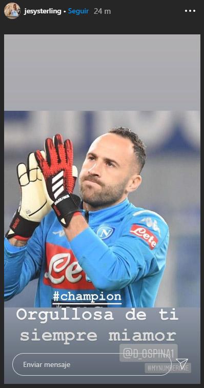 Jessica Sterling, David Ospina, felicitación, título, Copa Italia 2019-20, Napoli