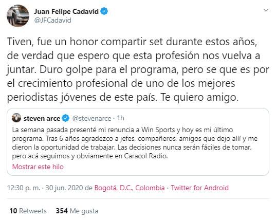Juan Felipe Cadavid, Steven Arce, Win Sports, renuncia