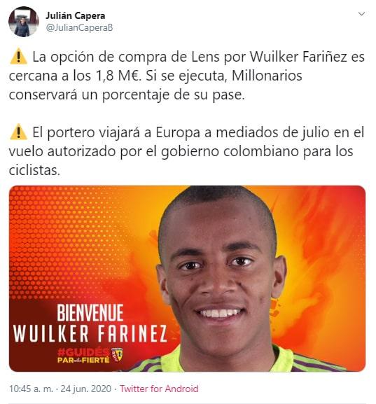Julián Capera, Millonarios FC, Racing Club de Lens, negociación, Wuilker Faríñez