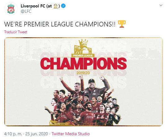 Liverpool FC, campeón, Premier League 2019-20