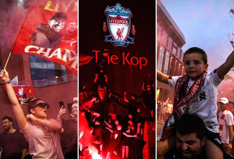 Liverpool FC, hinchas, celebración, Premier League 2019-20, campeón