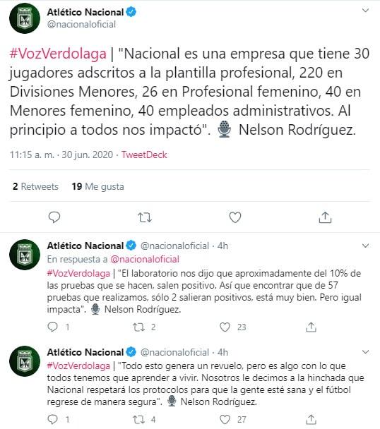 Nelson Rodríguez, Atlético Nacional, médico, coronavirus COVID-19, Twitter