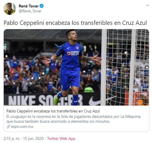Pablo Cepellini, Cruz Azul, transferible