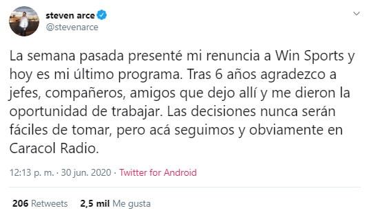 Steven Arce, Win Sports, renuncia
