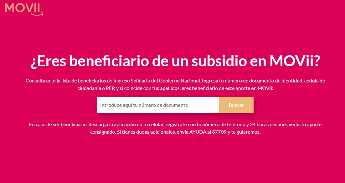 Es beneficiario de un subsidio como Ingreso Solidario en MOVii
