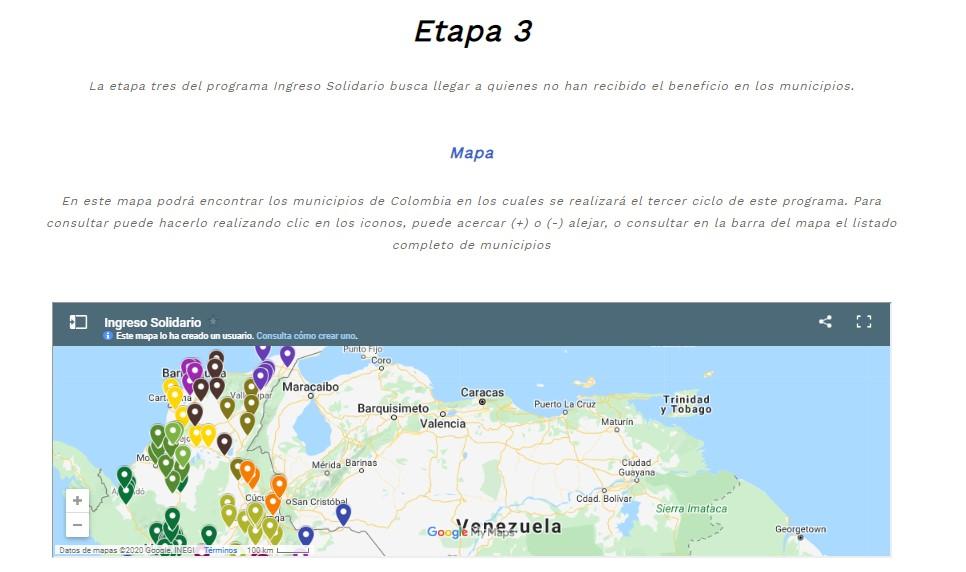 Mapa donde están los municipios de Colombia en los cuales se realizará el tercer ciclo del Ingreso Solidario