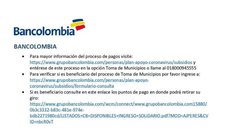 Bancolombia Ingreso Solidario