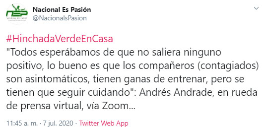 Andrés Andrade, Atlético Nacional, Nacional es pasión