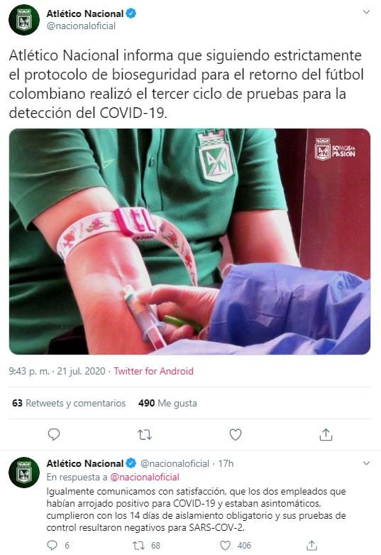 Atlético Nacional, COVID-19, nuevas pruebas