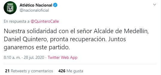 Atlético Nacional, Daniel Quintero, Medellín, COVID-19, nuevo coronavirus