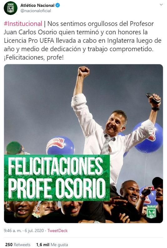 Atlético Nacional, Juan Carlos Osorio, Licencia Pro UEFA