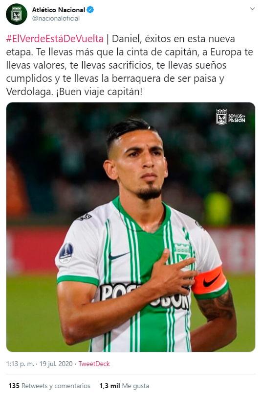 Atlético Nacional, despedida, Daniel Muñoz