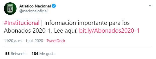 Atlético Nacional, información importante, abonados