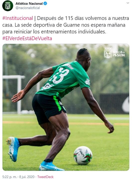 Atlético Nacional, tweet, entrenamiento, julio 9