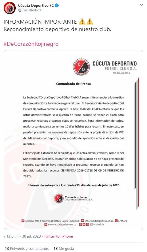 Cúcuta Deportivo, comunicado