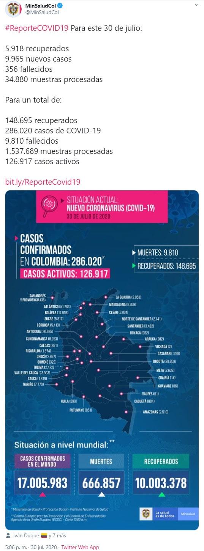 Colombia, COVID-19, nuevo coronavirus, Ministerio de Salud y Protección Social, reporte, 30-07-2020