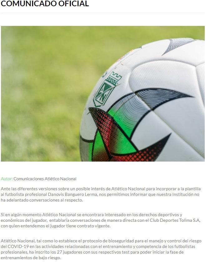 Danovis Banguero, Atlético Nacional, aclaración