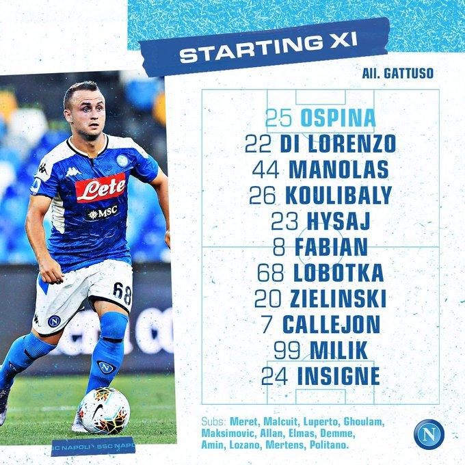 David Ospina, formación titular, Napoli vs. Sassuolo, Serie A 2019-20
