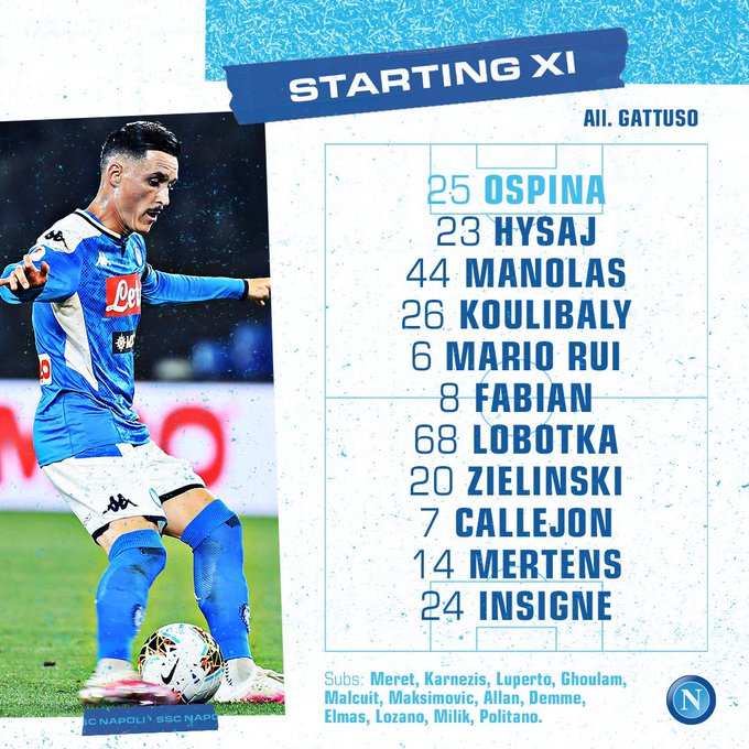 David Ospina, formación titular, Napoli vs. Udinese, Serie A 2019-20